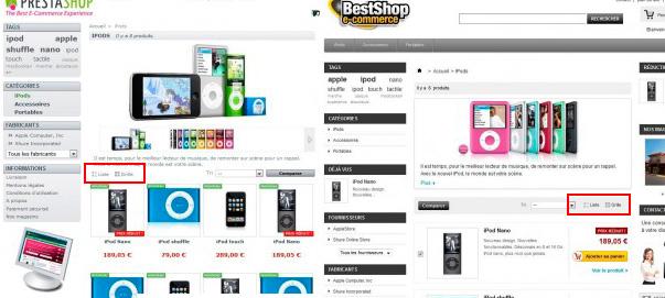 Módulo Prestashop lista o cajas de productos