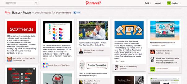 Pinterest enfocada a comercio electrónico