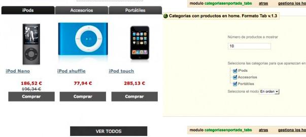 Módulo Prestashop Categorías con producto en tabs