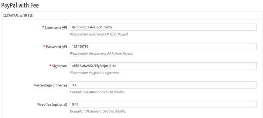 Módulo Paypal con comisión para Prestashop 1.6