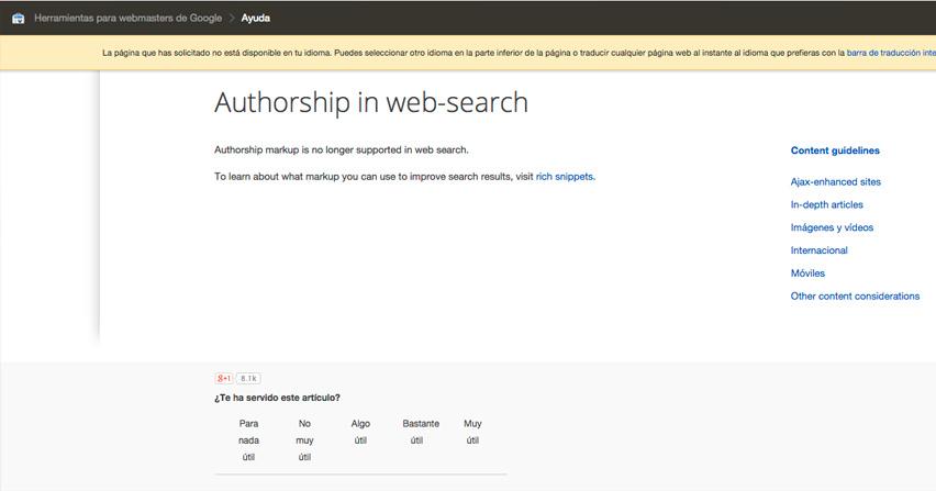 Se acabó Autorship, adíos las fotos en los resultados de las búsquedas