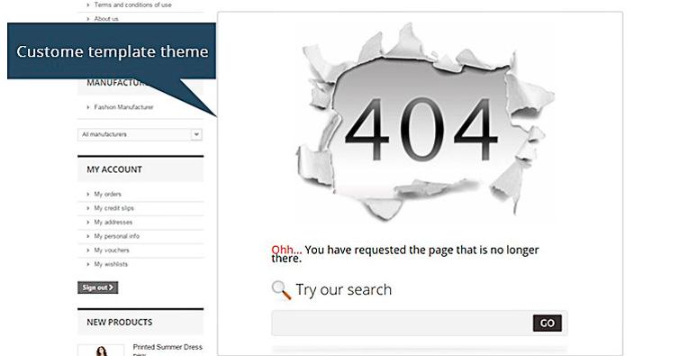 Ejemplo de ERROR 404 en tienda