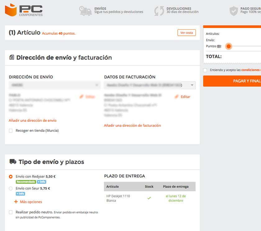 Proceso de pago PCComponentes