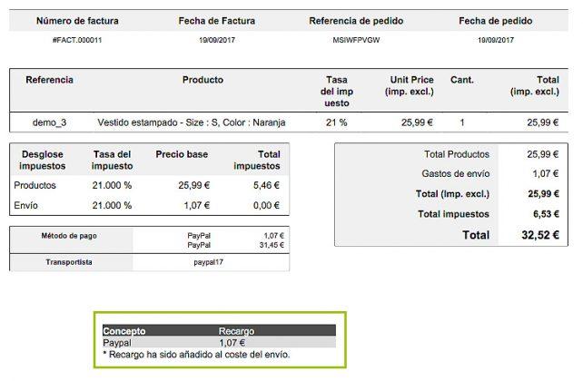 ejemplo factura modulo paypal con recargo prestashop 1 7 4webs
