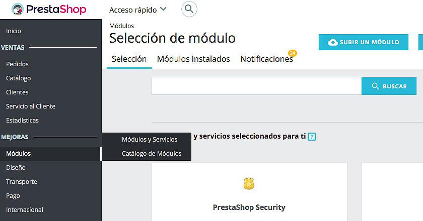 Cómo eliminar del listado módulos 1.7 todos los que son de la Addons