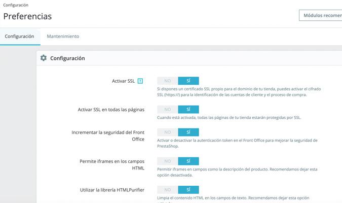 Activar HTTPS en Prestashop 1.7